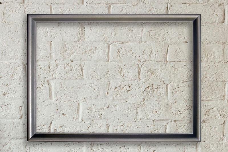 Правоъгълна рамка от дърво в сребърен бронз тънък профил