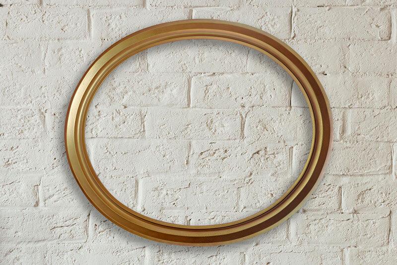 Елипсовидна рамка от дърво в златен бронз